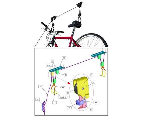 """מפנים מקום בבית! מערכת תלייה לאחסון אופניים או ציוד עד 20 ק""""ג שתחסוך לכם מקום יקר במחסן או בבית, , large image number null"""