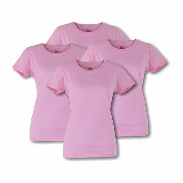מארז ארבע חולצות טישרט לאשה עם צווארון עגול בצבע ורוד מבית Fruit Of The Loom, , large image number null