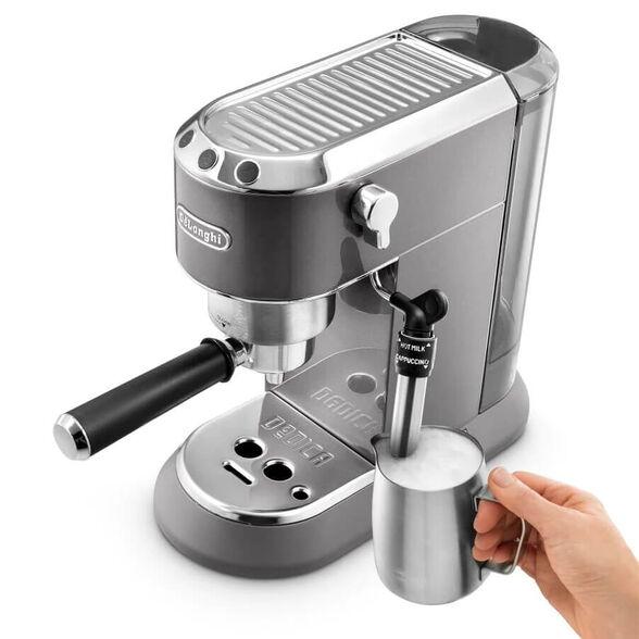 מכונת קפה ידנית  במהדורה מיוחדת המתאימה לשימוש הן בפודים והן בקפה טחון | מערכת הקצפת חלב ידנית עם פאנארלו להקצפה מהירה ומושלמת | מארז בריסטה מיוחד במתנה  _אפור מטאלי, , large image number null