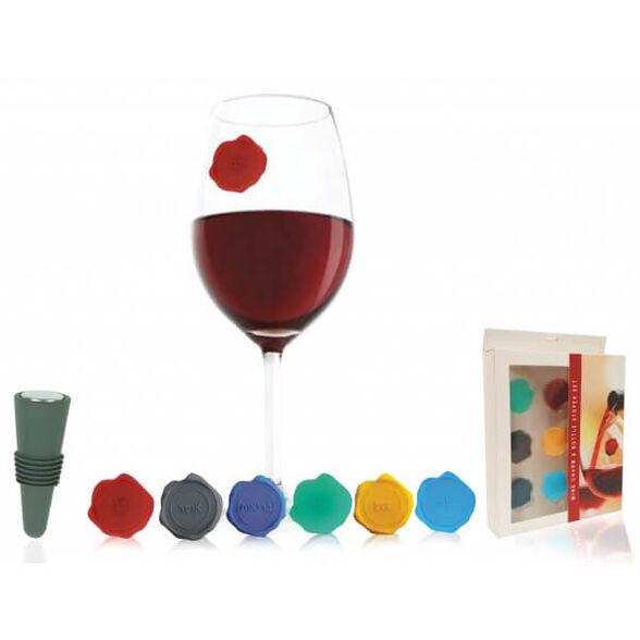 סט סימני חותמות לכוסות יין עם ברכות בעברית ופקק לבקבוק, , large image number null