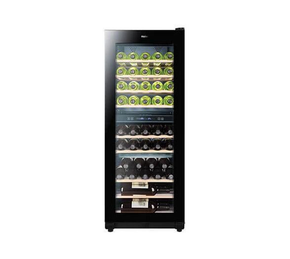 מקרר יין האייר תכולה ל- 49 בקבוקים בנפח 163 ליטר מדחס שקט ואיכותי עם דלת שקופה ותאורה פנימית דגם JC-162S   , , large image number null