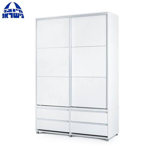 ארון הזזה 2 דלתות 4 מגירות בעל טריקה שקטה דגם קורן בצבע לבן מבית רהיטי יראון תוצרת ישראל, , large image number null