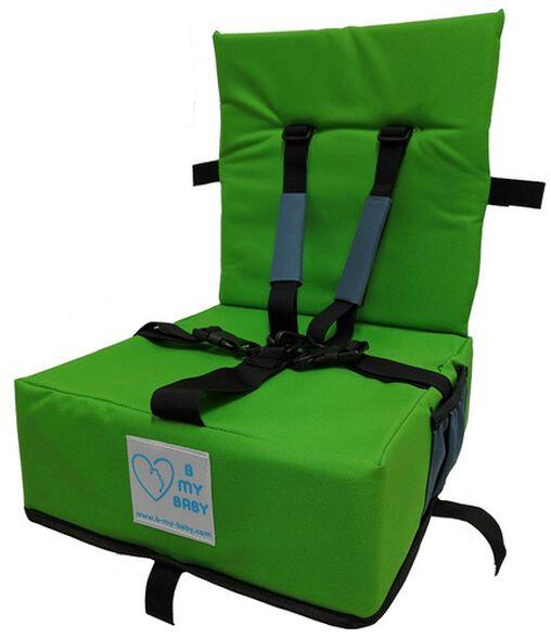 כיסא הגבהה מתקפל ונח עם רצועות פנימיות וקשירה לכיסא מטבח/פינת אוכל - ירוק, , large image number null
