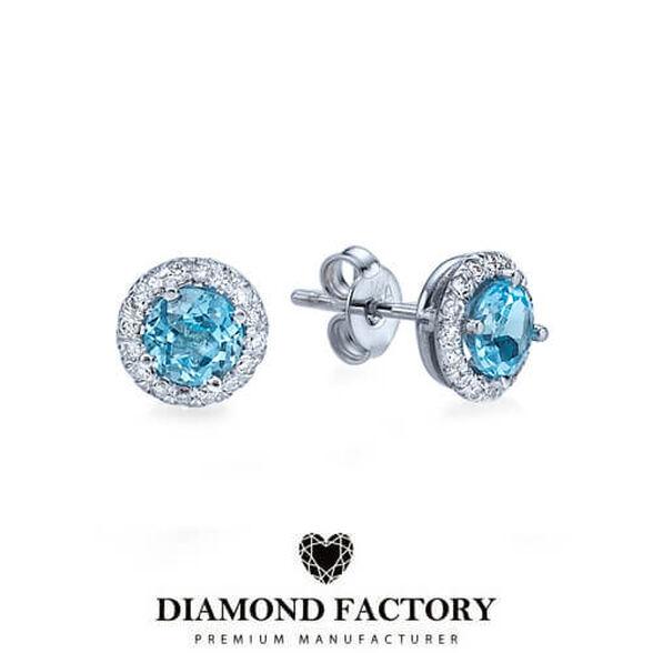 עגילי יהלומים בשיבוץ 16 יהלומים ובלו טופז במשקל 1.50 קראט, , large image number null
