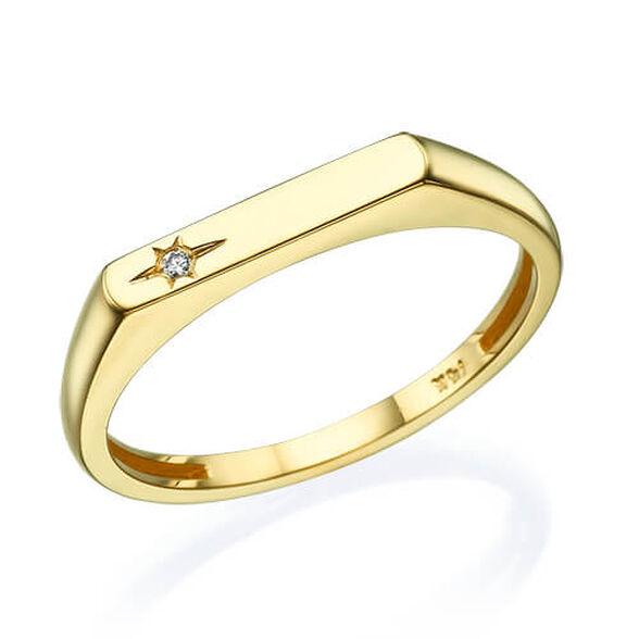 טבעת חותם משובצת יהלום 0.02 קראט, , large image number null