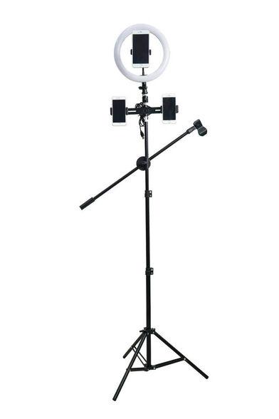 """תאורת רינג לד גובה 1.90 מ' 26 ס""""מ איכותי עם שלט בלוטות' דגם Selfie Light New, , large image number null"""