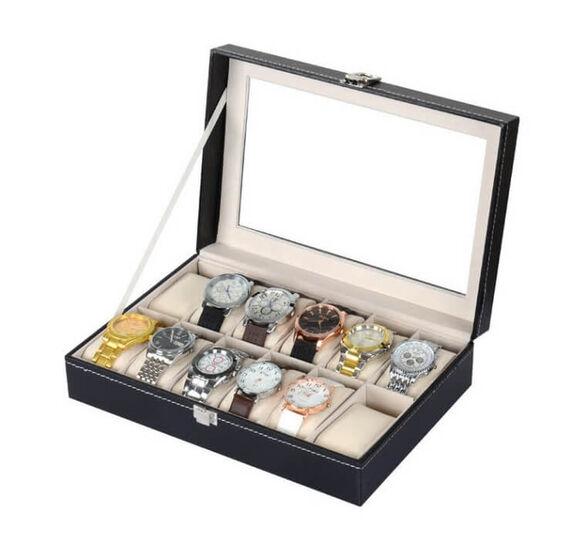 קופסא מהודרת מדמוי עור לאחסון 12 שעוני יד ותכשיטים, , large image number null
