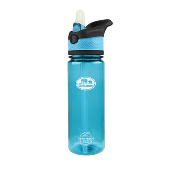 """בקבוק אקולוגי 750 סמ""""ק עשוי מTRITAN USA  עם קש סיליקון קפיצי מבית GO NATURE_צבע כחול, , large image number null"""