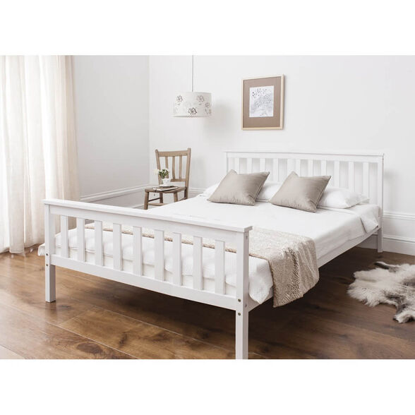 מיטה ברוחב וחצי מעץ מלא דגם PROSPER צבע לבן מבית BRADEX, , large image number null