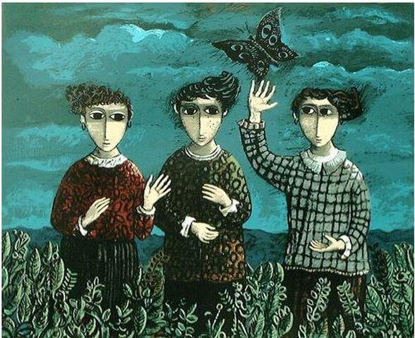 ליטוגרפיה בחתימה אישית   שלוש הבנות והפרפר   יוסל ברגנר, , large image number null