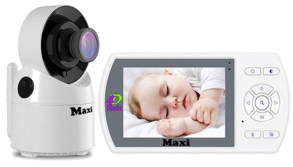 אינטרקום ומצלמה לתינוק MAXI עם מצמה מסתובבת, מסך גדול ומד טמפרטורה, , large image number null