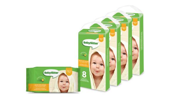 מארז 32 חבילות מגבוני בייביסיטר בבישום עדין - 4 מארזים של שמיניות מבית  BabySitter, , large image number null