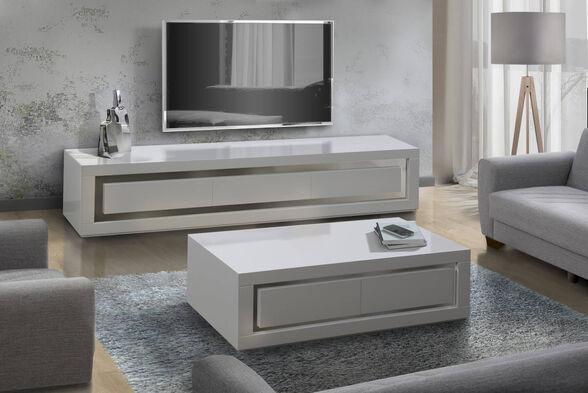 מערכת מזנון ושולחן לסלון בצבע לבן בגימור אפוקסי המעוצבים במראה יוקרתי מאוד לשידרוג הסלון - LEONARDO, , large image number null