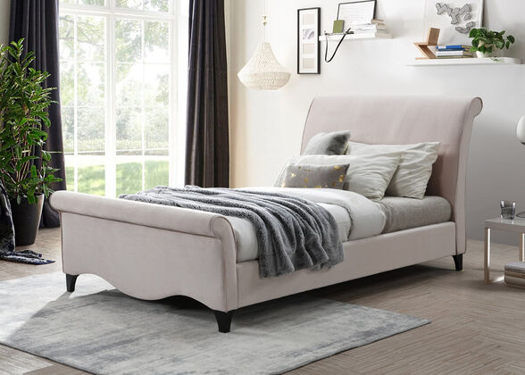 מיטת נסיכות רחבה 120/190 מרופדת בד קטיפה ורוד HOME DECOR דגם מורן , , large image number null