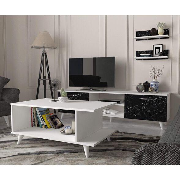 סט שולחן + מזנון טלוויזיה 1.8 מטר דמוי שיש + 2 מדפי תלייה מתנה דגם MARBLE XL מבית GEVA DESIGN, , large image number null