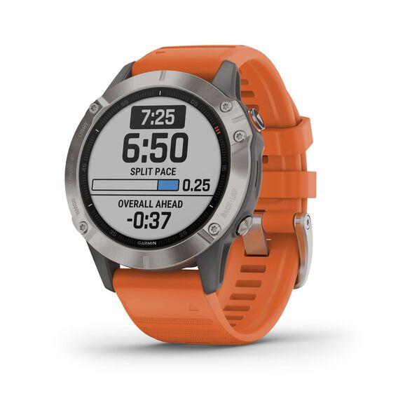 שעון דופק מולטי ספורט מבית גרמין! fenix 6,Sapphire, Titanium Gray w/Orange Band ,GP   דגמי 2019   יבואן רשמי, , large image number null