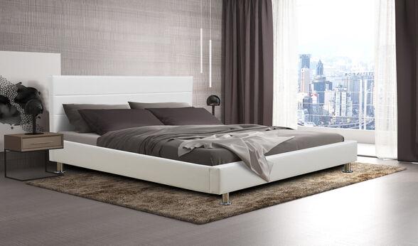 מיטת נוער רחבה ומעוצבת 120x190 בריפוד דמוי עור לבן HOME DECOR דגם פיזה 120 , , large image number null