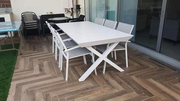 שולחן נפתח לגינה + 6 כיסאות דגם 786 מבית H-KLEIN_לבן, , large image number null