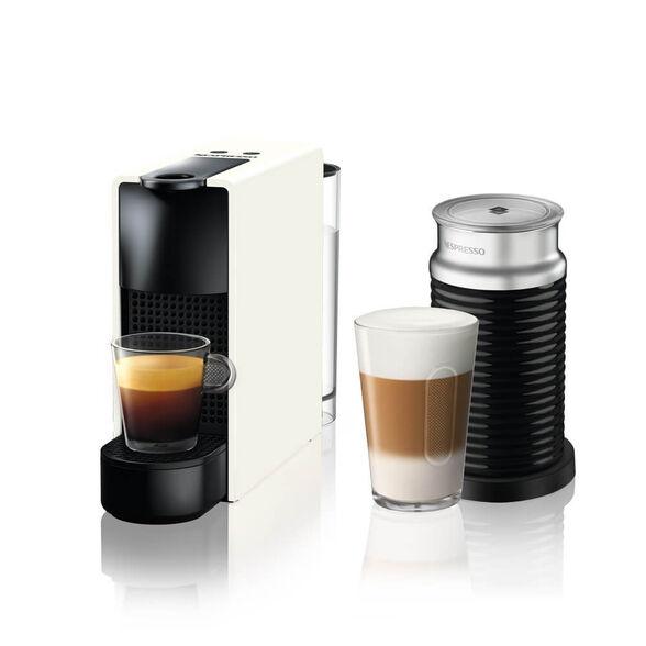 מכונת קפה Nespresso אסנזה מיני בצבע לבן דגם C30 כולל מקציף חלב ארוצ'ינו | 5 שרוולי קפה מתנה ברכישת מכונת קפה NESPRESSO  מסדרת ORIGINAL עם פתרון חלב בלבד , , large image number null