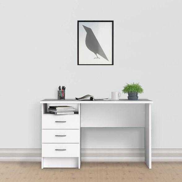 שולחן כתיבה לבן עם שידת מגירות ותא אחסון תוצרת דנמרק מבית HOME DECOR דגם מדיסון , , large image number null