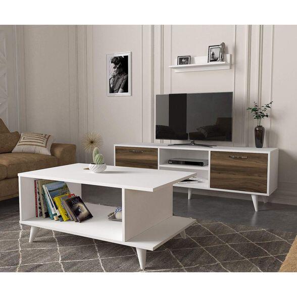 סט שולחן + מזנון טלוויזיה 1.6 מטר + מדף תליה דגם נבדה מבית GEVA DESIGN, , large image number null