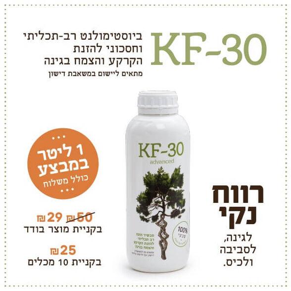 דשן נוזלי KF-30 תכשיר הזנה רב תכליתי להזנת הקרקע והצומח בגינה 1 ליטר_תוספת מחיר ל- 10 מארזי 1 ליטר, , large image number null