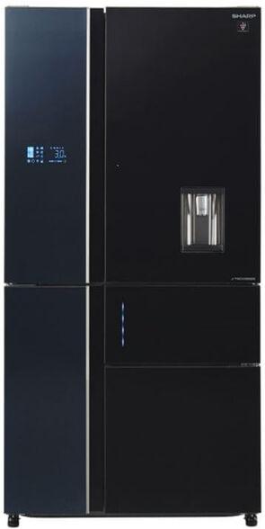 מקרר שארפ 5 דלתות 651 ליטר  נטו  היבריד  No-Frost מדחס אינוורטר j-Tech inverter בגימור זכוכית שחורה דגם SJ-FSD910  , , large image number null