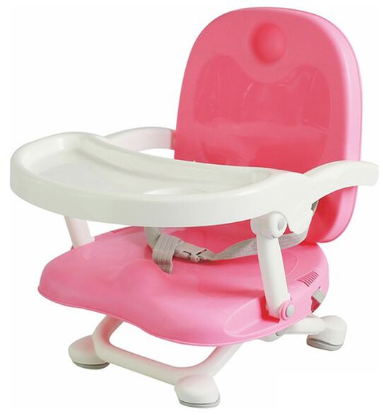 מושב הגבהה לתינוק קיט קט מתקפל עם מגש וריפוד שליף ורחיץ - ורוד, , large image number null