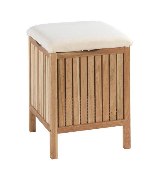 בלעדי באתר! שרפרף לאמבטיה עם ארגז אחסון מעץ אגוז | WENKO, , large image number null