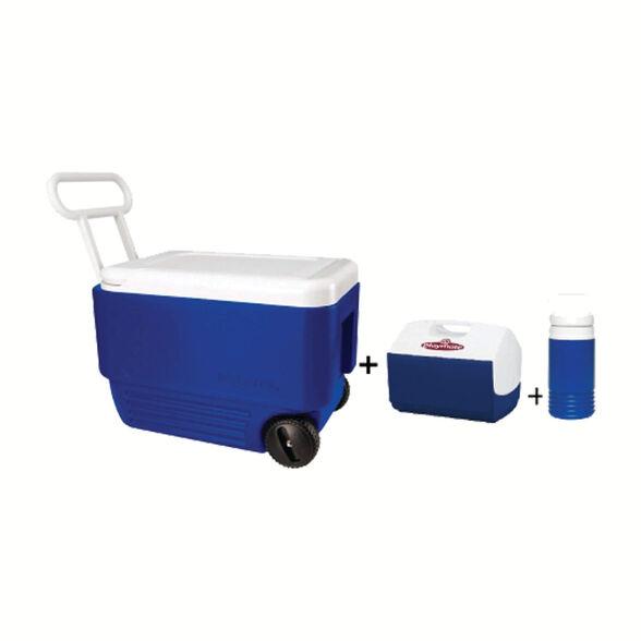 סט צידניות קומבו  36 ל' + גלגלים + צידנית קטנה 9 ליטר  ומיכל מים 3 ליטר דגם 34486  IGLOO WHEELIE COOL, , large image number null