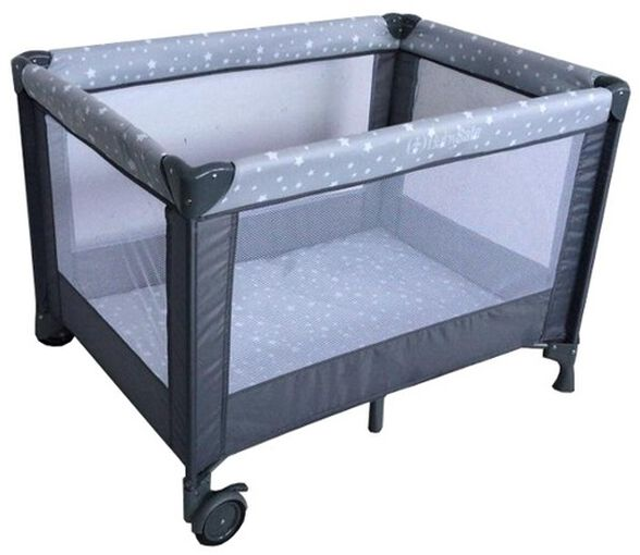 לול קמפינג / מיטה ניידת SIMPLY 2 לתינוק עם גלגלים וכילה - אפור כוכבים, , large image number null