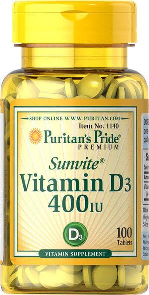 """100 טבליות ויטמין די 400 יב""""ל D3 - בעל ספיגה משופרת   יחידה שנייה בהנחה נוספת, , large image number null"""