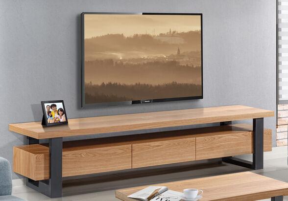 מזנון עשוי עץ בשילוב פורניר על גבי רגלי מתכת גבוהות מראה אוורירי מלא עוצמה ומגירות עם טריקה שקטה -LEONARDO, , large image number null