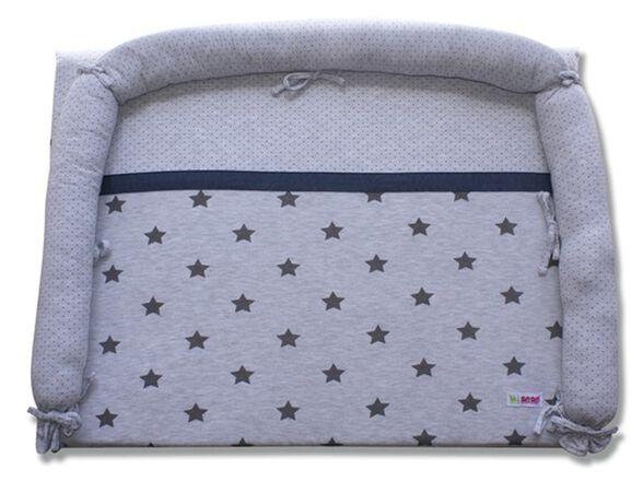 משטח החתלה לשידה עם כיסוי 100% כותנה - אפור כוכבים, , large image number null