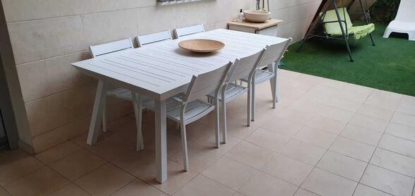 שולחן אלומיניום נפתח לגינה דגם PRINCE כולל 6 כיסאות מבית H-KLEIN_לבן, , large image number null