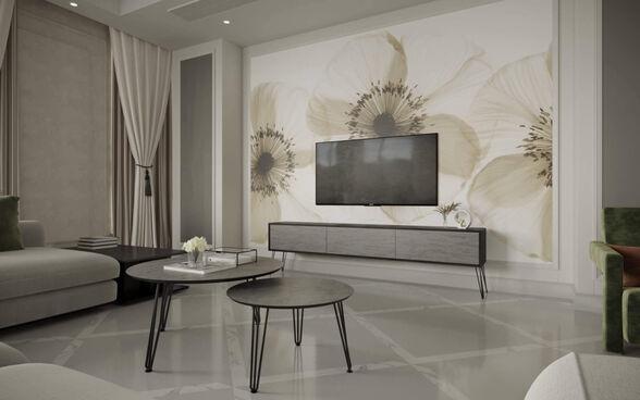 סט מזנון וזוג שולחנות לסלון דגם בטון כהה מבית PandaStyle, , large image number null