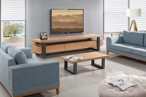 מערכת מזנון ושולחן עשוי עץ בשילוב פורניר רגלי מתכת גבוהות מראה אוורירי מלא עוצמה ומגירות עם טריקה שקטה - LEONARDO, , large image number null