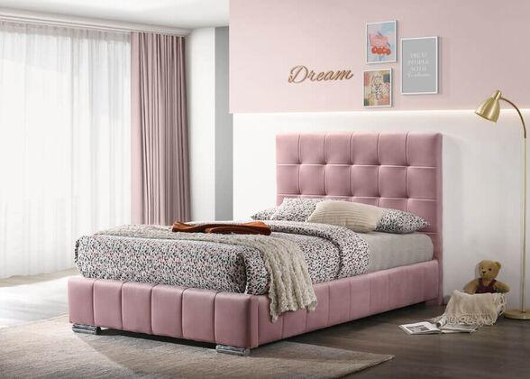 מיטת נערות 120x190 מרופדת בד קטיפתי ורוד HOME DECOR דגם דיאנה , , large image number null