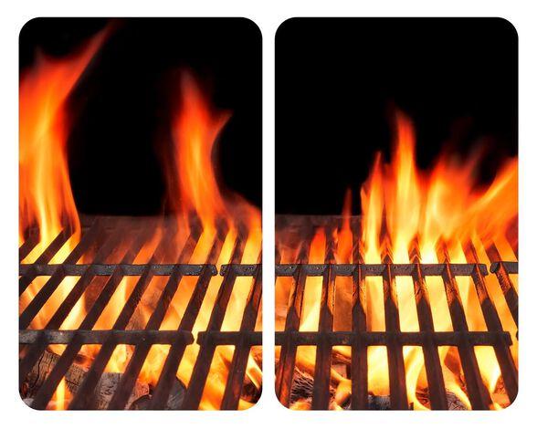 """זוג זכוכיות מעוצבות חסינות חום ניתן להשתמש כתחתית וכקרש חיתוך 30X 52 ס""""מ דוגמא אש בוערת ALLSTAR  WENK, , large image number null"""
