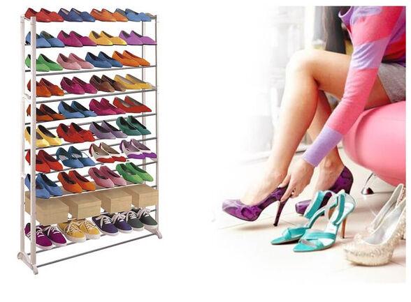 מעמד נעליים לעד 50 זוגות נעליים ובעל 10 מדפים מודולרים, , large image number null