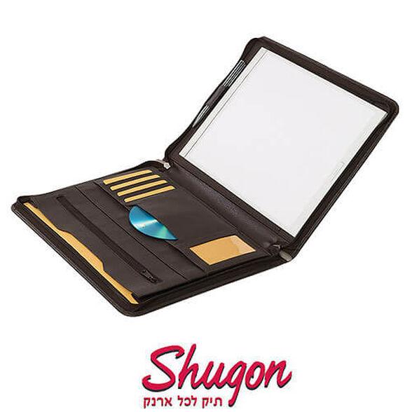 פולדר A4 מעור נאפה SHUGON עם רוכסן משטח כתיבה, תופסן לעט ותאים לכרטיסים ותקליטורים |, , large image number null