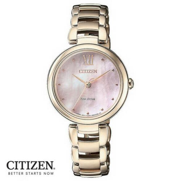 שעון יד סולארי לאישה ללא צורך בסוללה מבית CITIZEN עשוי פלדת אל חלד וזכוכית ספיר עמידה בפני שריטות, , large image number null
