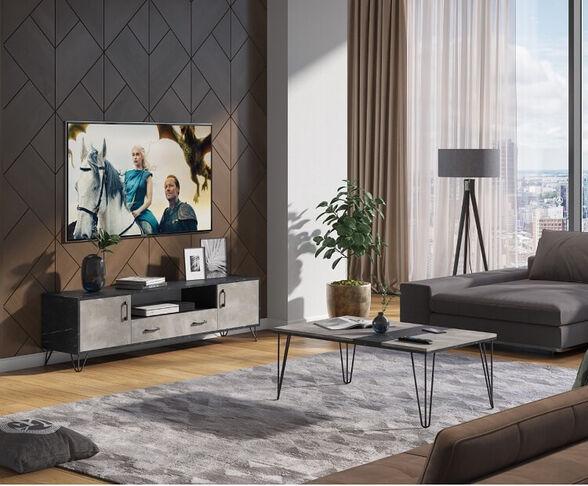 מזנון ושולחן לסלון מבית House Design ייצור ישראלי כחול לבן דגם ברלין, , large image number null