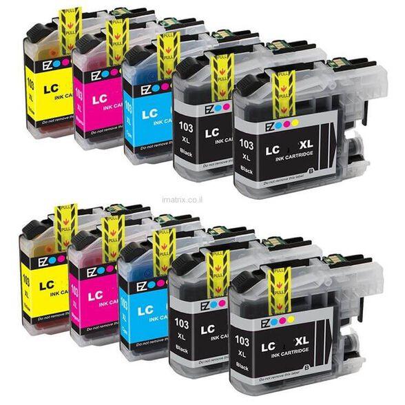 10 ראשי דיו למדפסות BROTHER בגודל XL במחיר מצחיק - 4 ראשי דיו שחורים ועוד 2 כחול, 2 צהוב, 2 אדום , , large image number null